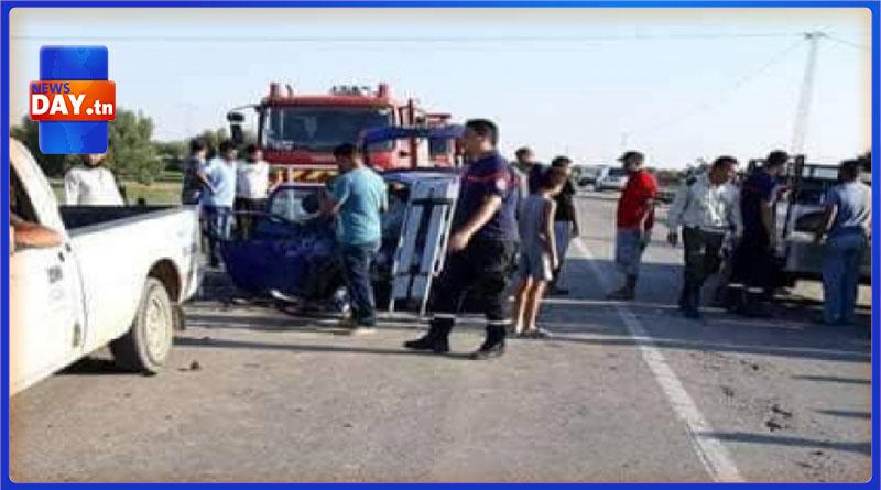 إرتفاع عدد المصابين في حادث مرور بالقيروان ( صور)